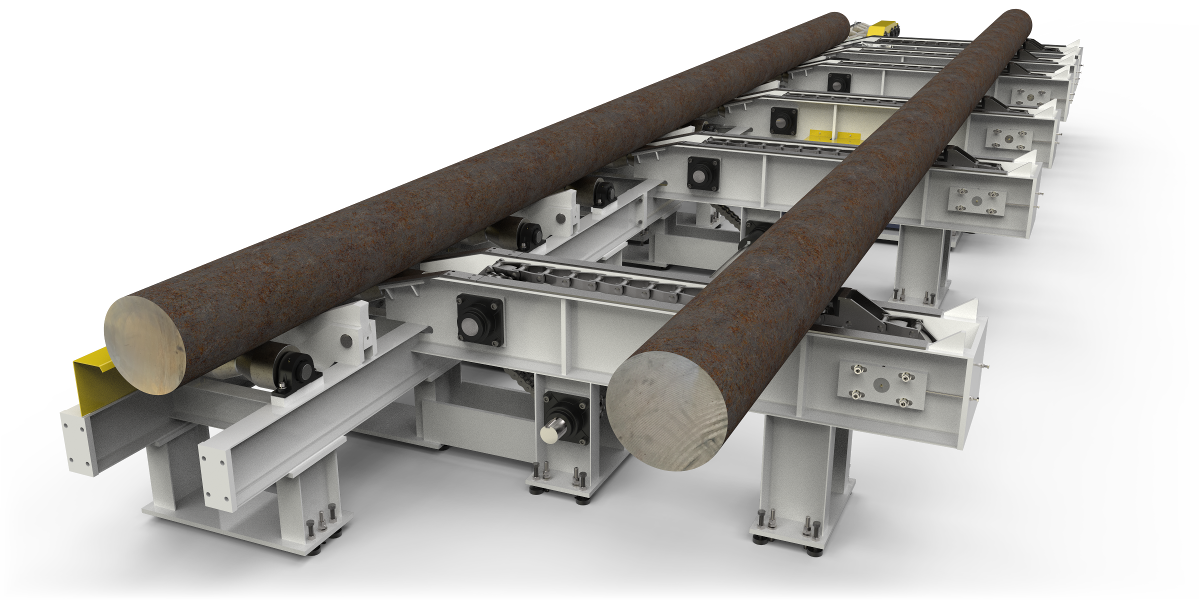 Designed to automatically load and convey large steel billets.