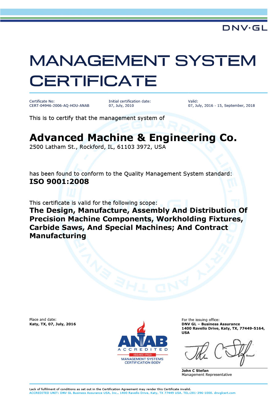Iso Certification Advanced Machine Engineering Co