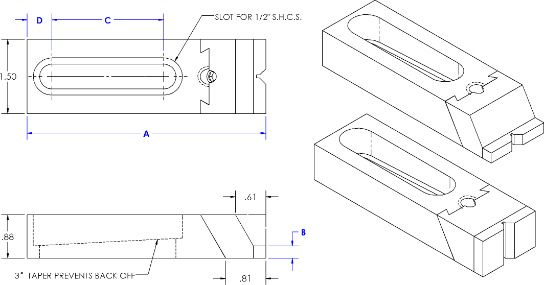 Toe Clamp Line Drawing